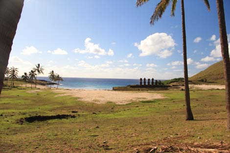 Anakena, sa plage, ses palmiers, ses moais