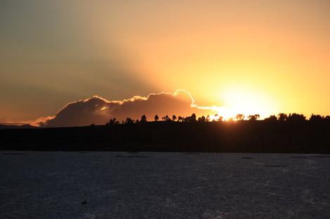 La vue depuis la terrasse au lever du soleil