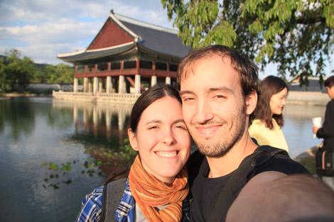 Elodie et moi dans le palais Gyeongbokgung