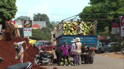 Livraison de noix de coco à Ban Lung