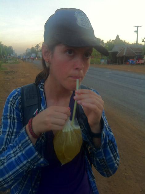 Jus de canne à sucre sur le bord de la route