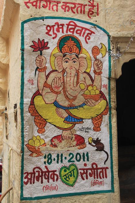 Ganesh, le dieu à la tête d'éléphant, est peint sur les maisons des jeunes mariés pour leurs porter chance