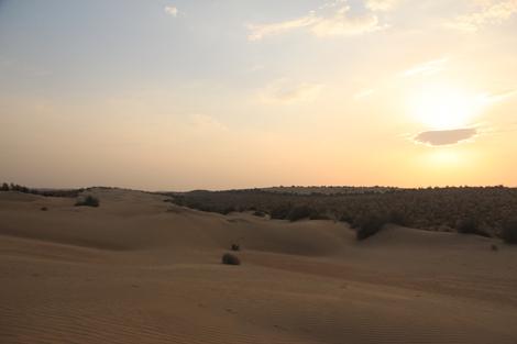 La nuit tombe sur le désert du Thar