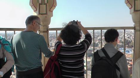 En haut du minaret de Jaipur