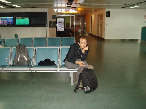 Ça on s'est ennuyé à Guangzhou (Chine) avec les heures de retard avant le décollage!
