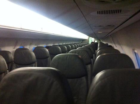 Nous étions en tout 10 (six passagers et quatre membres d'équipage) dans cet Airbus A320 de 150 places passagers en moyenne!